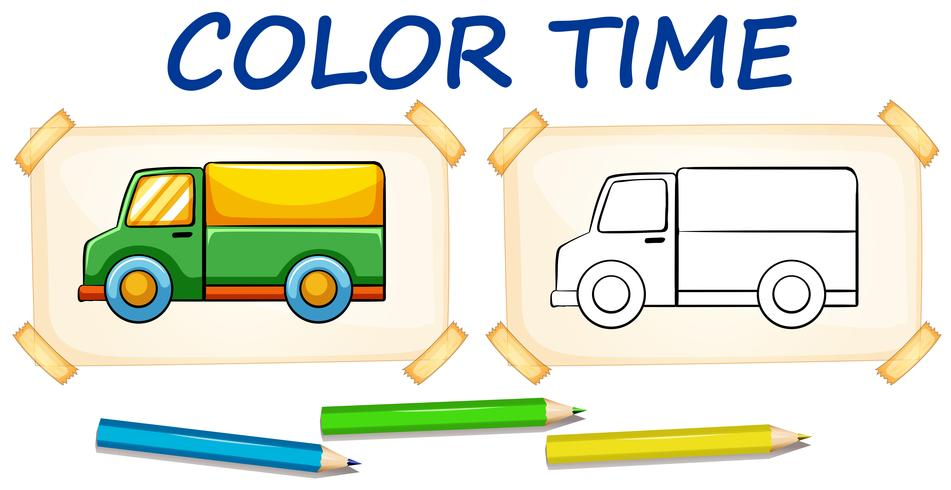 Coloring template for lorry truck vector
