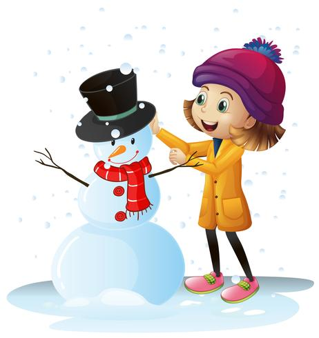Chica jugando en la nieve con muñeco de nieve