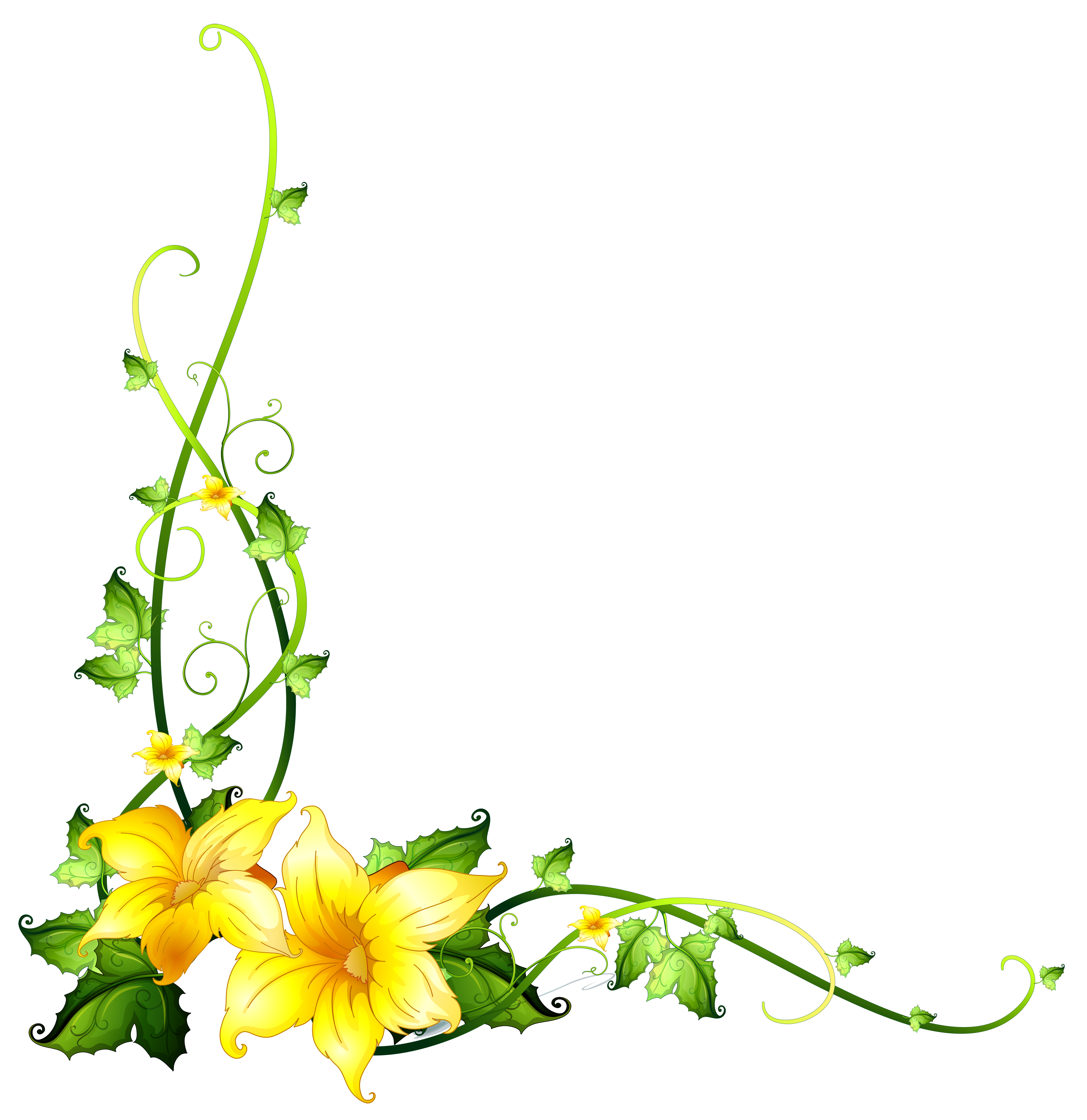 Border template with yellow flowers - Download Free ...