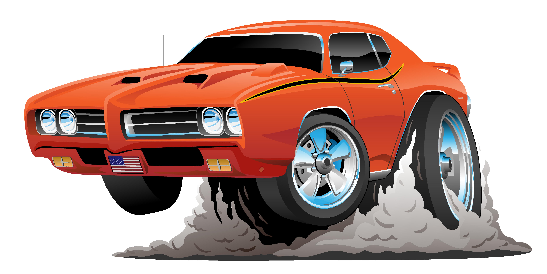 Classic American Muscle Car Cartoon Vector Illustration ... (6222 x 3117 Pixel)