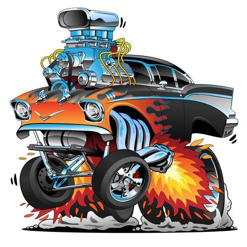 Clásico coche de carreras de los años cincuenta estilo gasser drag racing muscle car, red hot flames, big vector