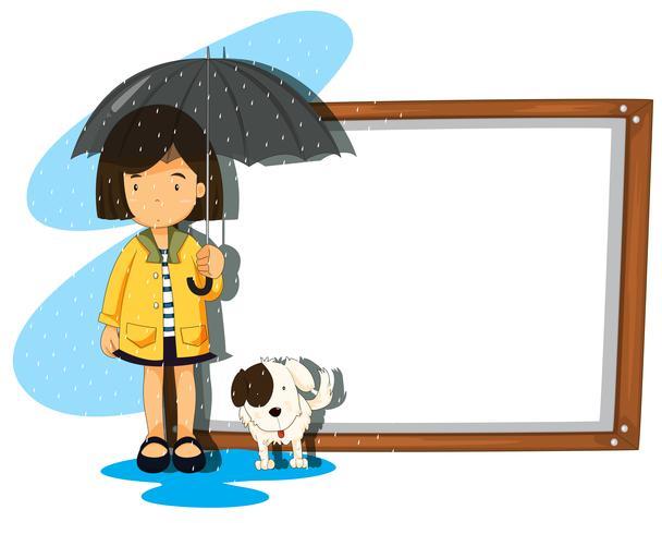 Banderollsmall med flicka och hund i regnet