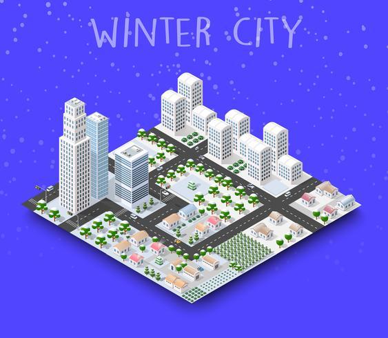 Concept isométrique urbain de créateur de module de ville vecteur