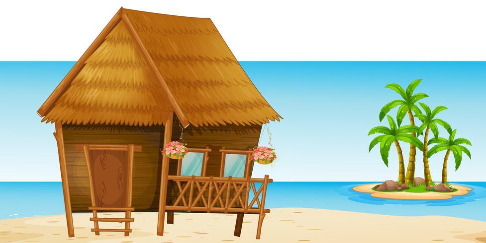 Capanna di legno sulla spiaggia
