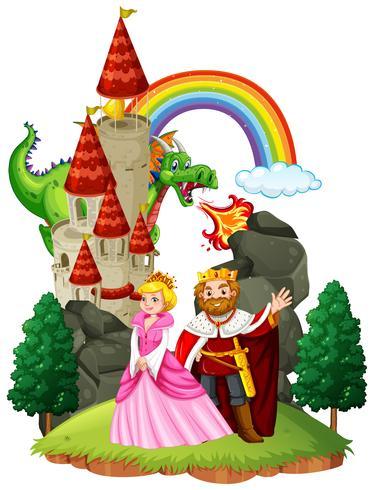 Escena con rey y reina en el palacio. vector
