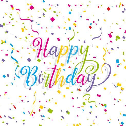 Fondo de feliz cumpleaños con serpentinas y confeti