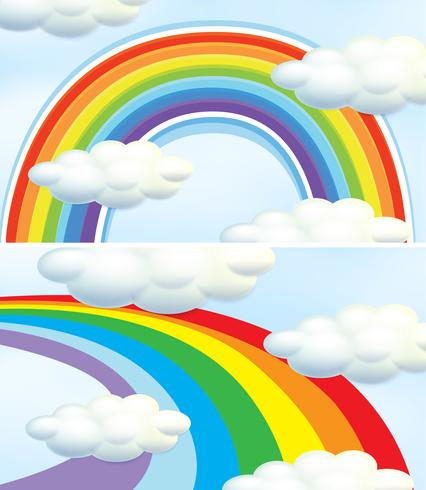 Regenbogen im blauen Himmel