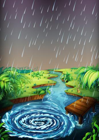 Scena del fiume con la pioggia che cade