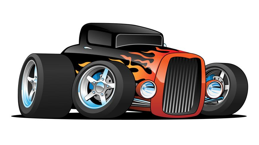Illustration vectorielle de hot rod coupe classique voiture personnalisée dessin animé vecteur