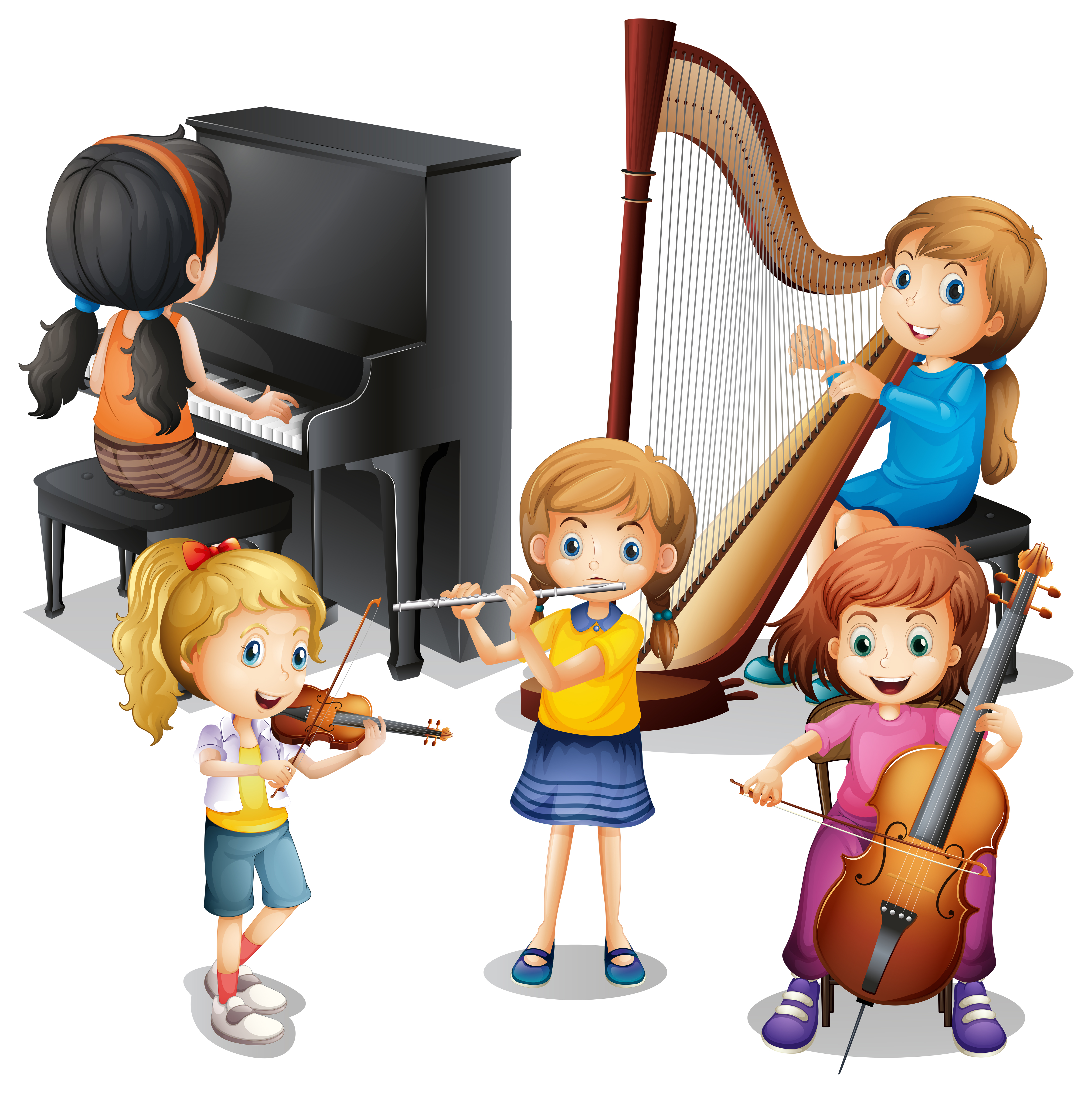 music playing clipart children classical room many vector musical illustration clip violin piano cartoon child flute illustrations different instrument instruments