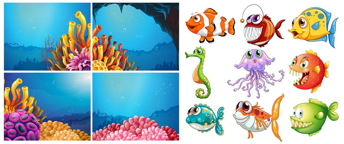Sea animals and four scenes underwater vector