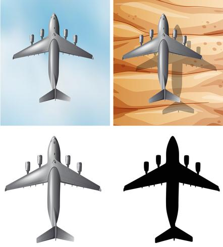 Airplane flying over two different backgrounds