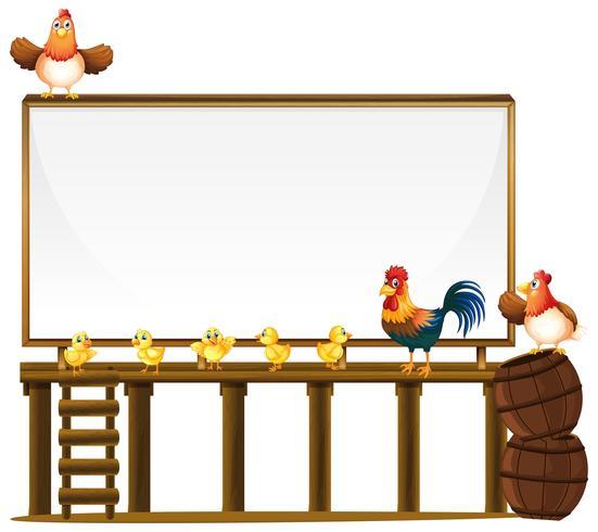 Board mall med kycklingar och fat