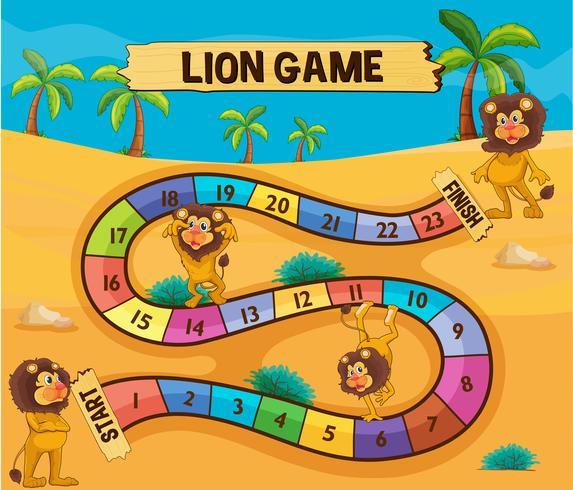 Brettspielvorlage mit Löwen in der Wüste