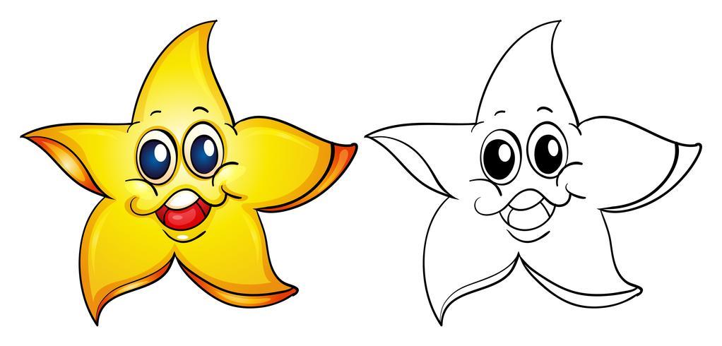 Djurutkast för sjöstjärna med gott ansikte