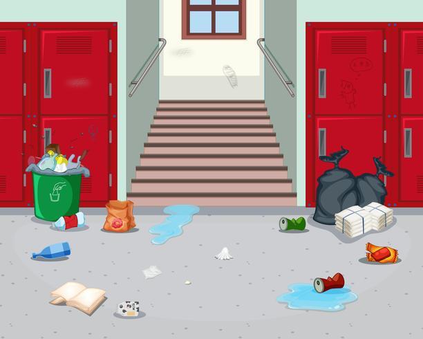 Smutsig inomhusskola hall