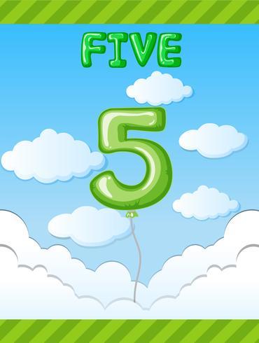 Nummer fem ballong på himmel