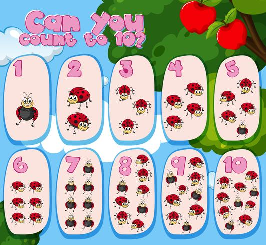 Counting one to ten with ladybugs