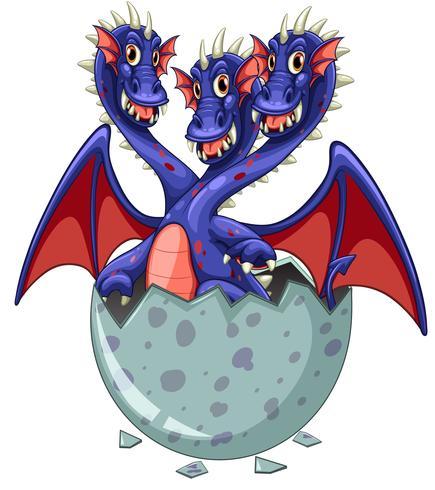 Dragon à trois têtes dans un oeuf gris
