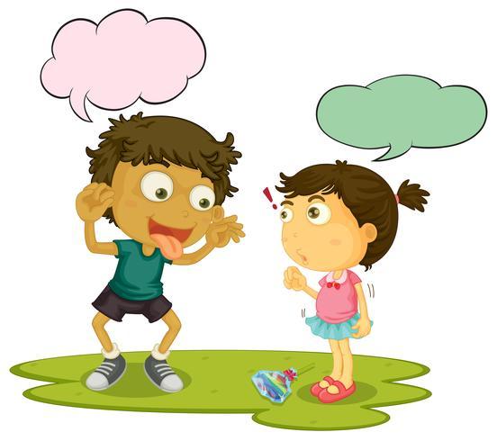Bully children speeach balloon