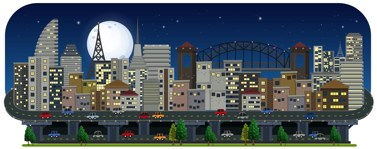 En panoramautsikt över staden på natten