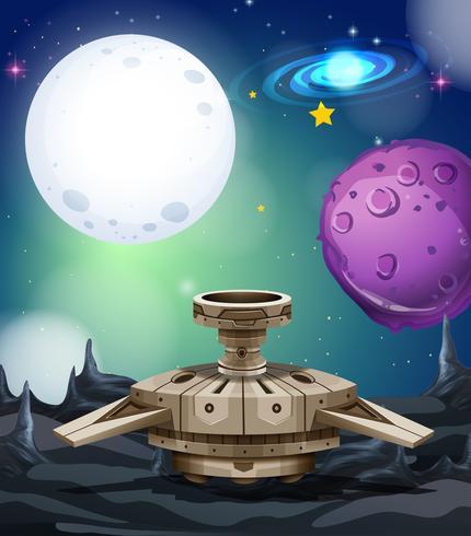 Bakgrundsscen med rymdskepp och planeter