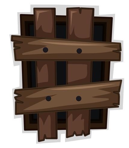 Ventana rota con tablas de madera clavada.