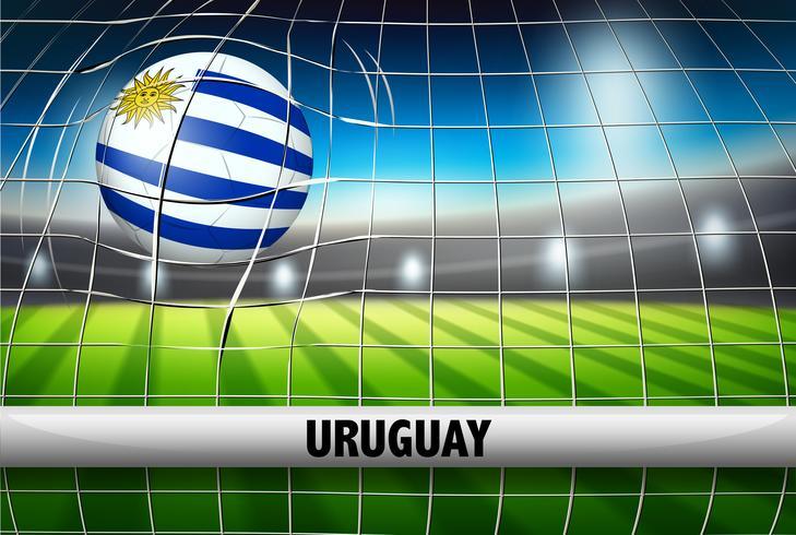 Bandera de pelota de futbol de uruguay vector