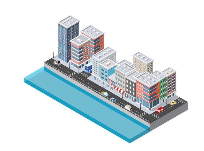Ilustración isométrica de la ciudad moderna. Dimensional