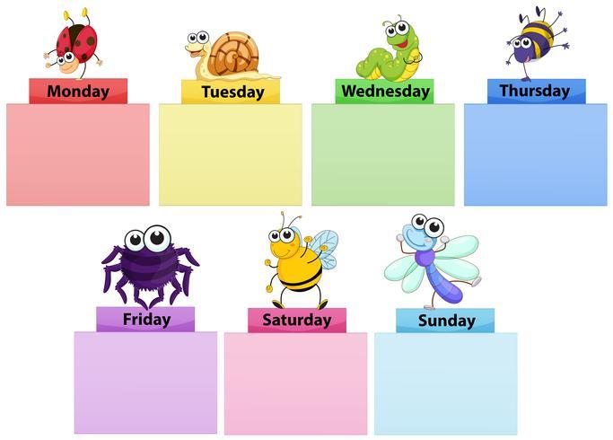 Plantilla de banner de días de la semana con bichos de colores.