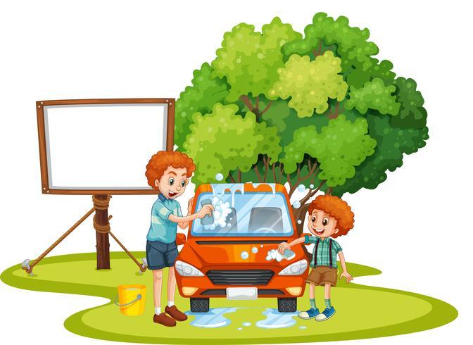 Pappa och son tvättar bil på gräsmattan
