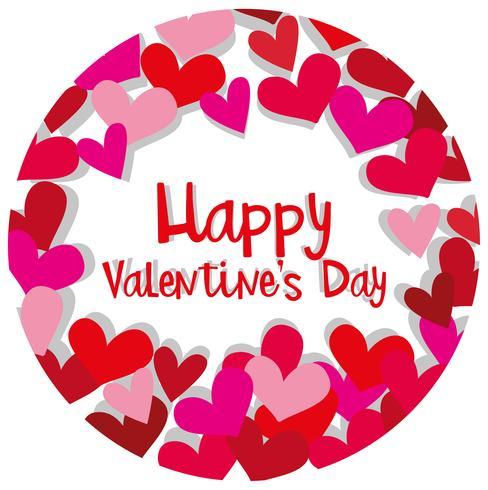 Plantilla de tarjeta de San Valentín feliz con corazones en rojo y rosa