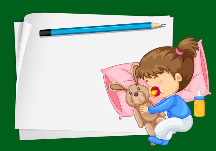 Paper template with girl sleeping