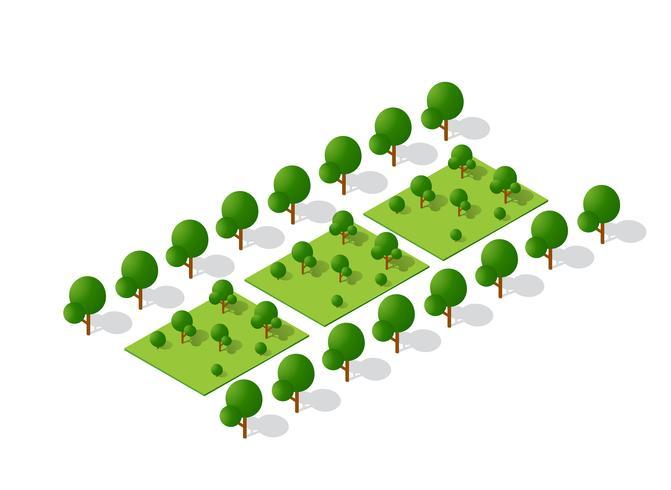 Arbres 3d isométriques forêt éléments de nature camping isométrique