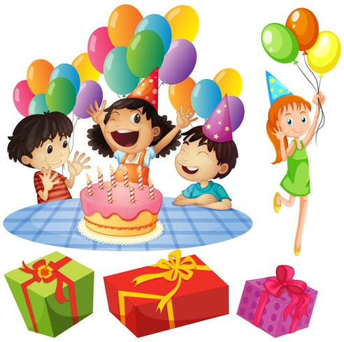 Barn på födelsedagsfest med ballonger och presenter