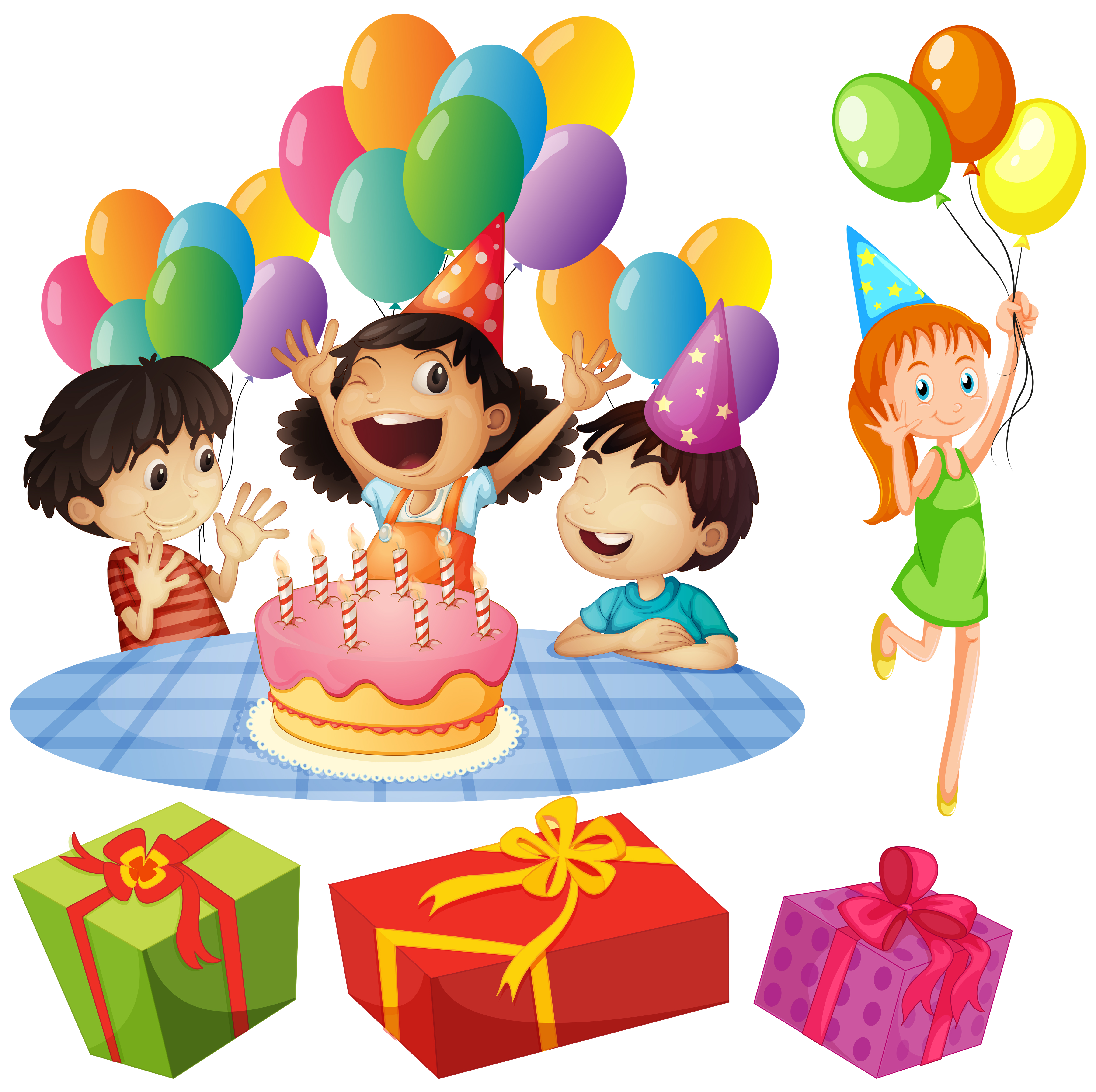 Kids At Birthday Party With Balloons And Presents