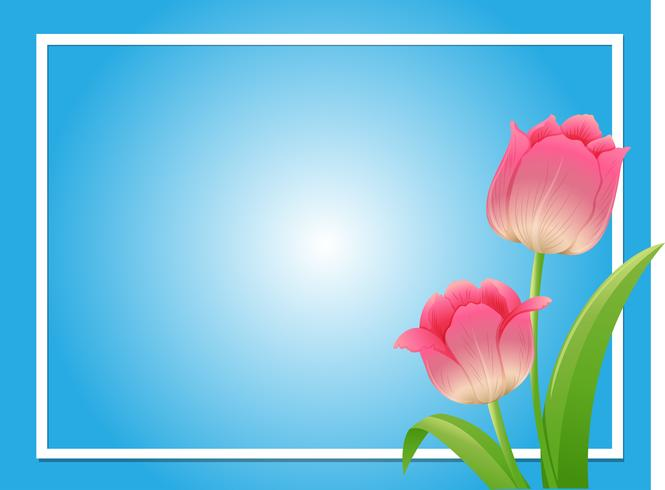 Plantilla de marco con tulipán rosa
