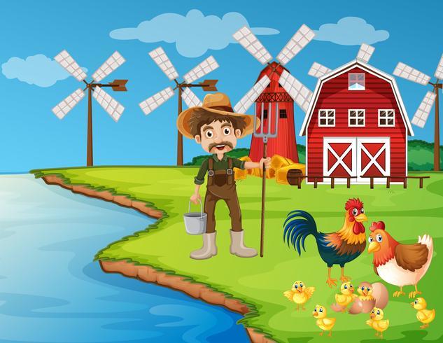 Cena de fazenda com agricultor e galinhas