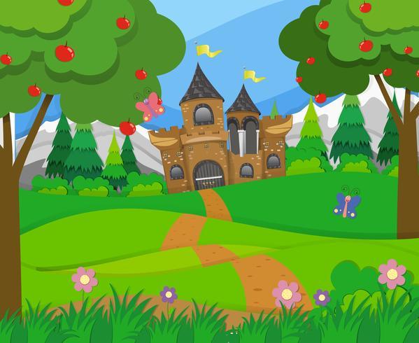 Cena, com, torres castelo, e, colinas