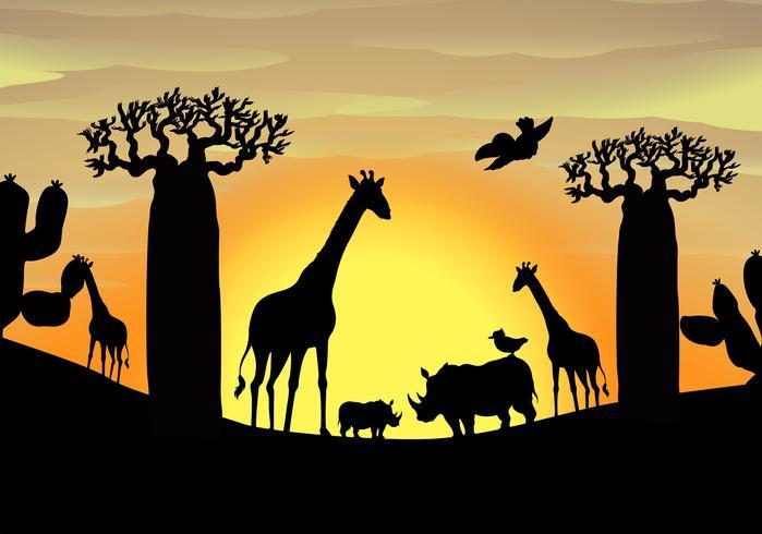 Bakgrundsscen med vilda djur i fältet