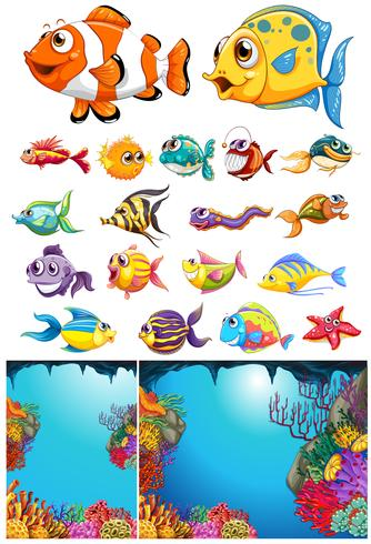 Ocean scene and many sea animals vector