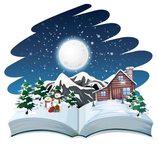 Open boek winter buiten thema