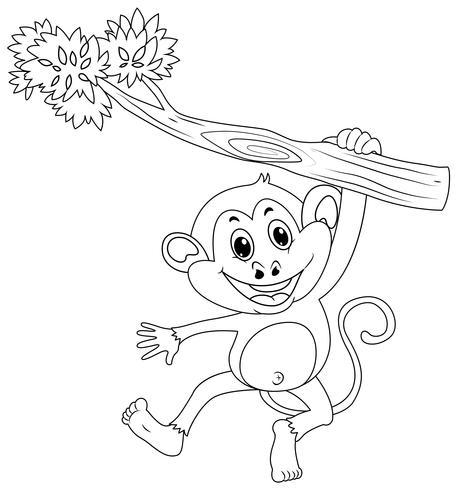 Djur skiss för apa på gren