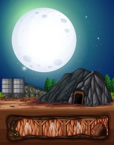 Una miniera di notte di luna piena