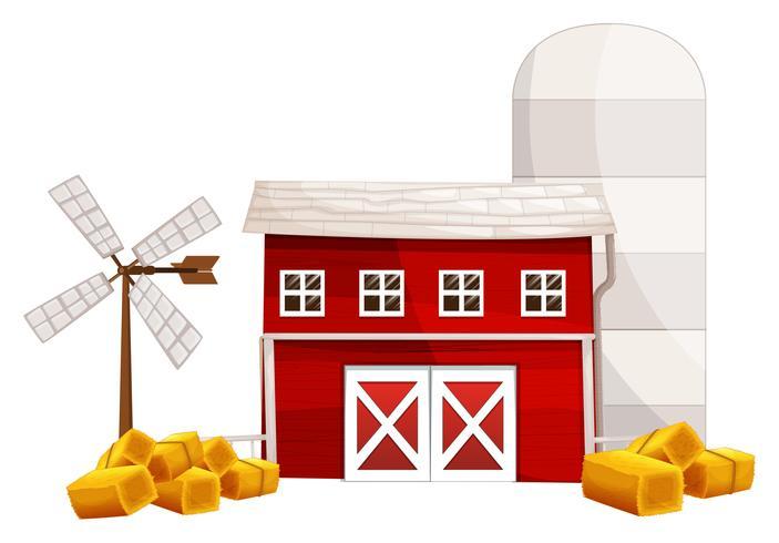 Schuur en silo met hooi ter plaatse