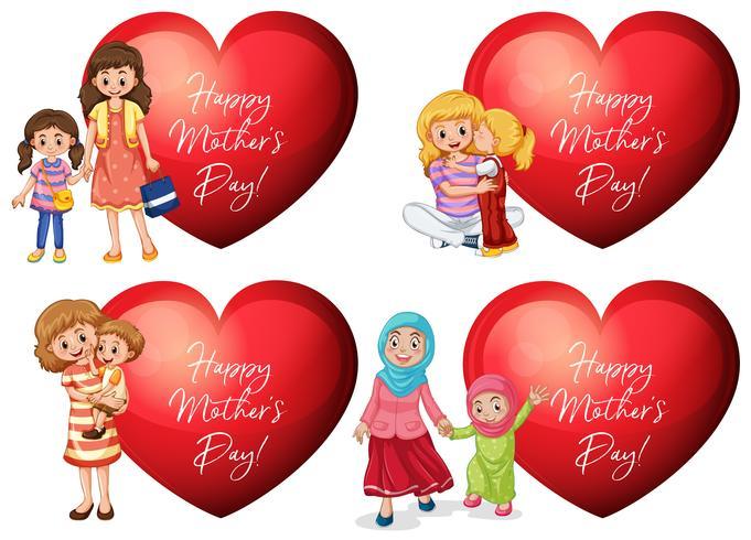 Design di adesivi per la festa della mamma con madri e bambini