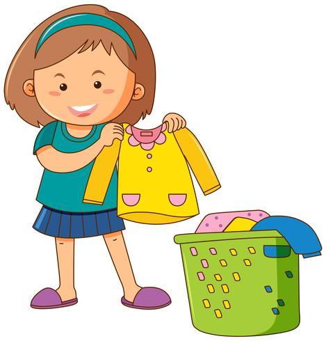 Liten tjej gör tvätt
