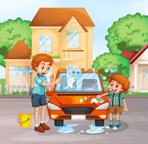 Fader och pojke tvättbil
