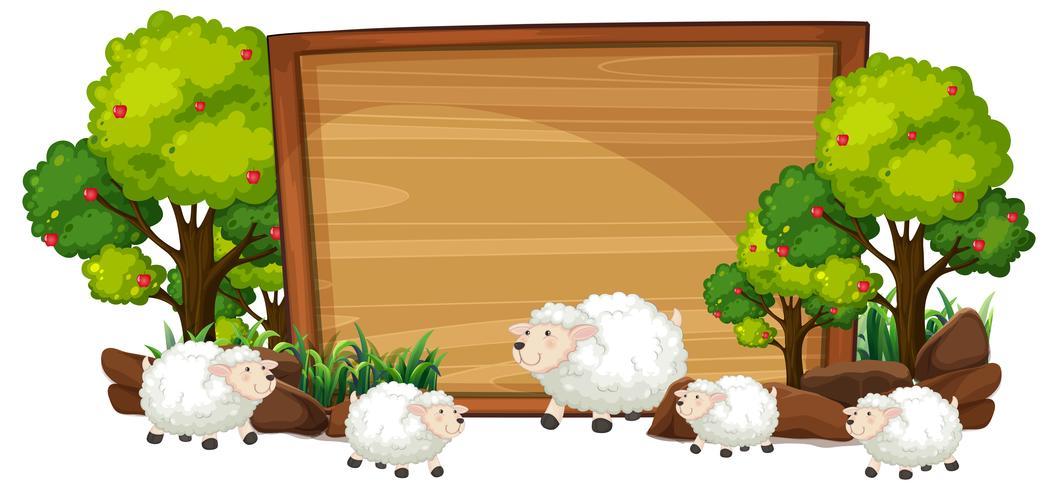 Schafe auf der hölzernen Fahne