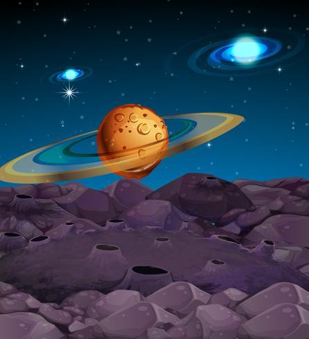 Escena de fondo con planetas en galaxia
